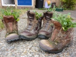 Hiking boot plant pots